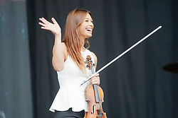 Stephanie Benedetti, sister of Nicola Benedetti, helps opens the main stage on Sunday at T in the Park 2012, held at Balado, in Fife, Scotland.