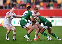 Rugby Union - 2020 / 2021 Gallagher Premiership - Round 19 - London Irish vs Exeter Chiefs - Brentford Community Stadium<br /> <br /> Exeter Chiefs' Stuart Hogg is tackled by London Irish's Curtis Rona<br /> <br /> COLORSPORT