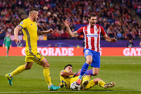 Atletico de Madrid's player Sime Vrsaljko and CF Rostov's player Fedor Kudryashov and Christian Noboa during a match of UEFA Champions League at Vicente Calderon Stadium in Madrid. November 01, Spain. 2016. (ALTERPHOTOS/BorjaB.Hojas)