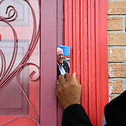 Orangeburg, SC - January 26, 2016:  Bernie Sanders campaign volunteer, Ronnie Thompson, leaves some campaign literature at a home off Woodbine Drive during a neighborhood canvassing effort. CREDIT: LOGAN R. CYRUS FOR THE NEW YORK TIMES