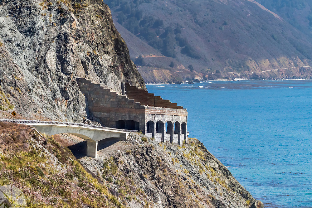 View of the Rock Shed structure to protect Highway 1 on the Big Sur California coast from falling rocks and debris.