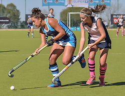 Tatiana Martins of Springfield(blue) and Amber Scott of Herschel during day two of the FNB Private Wealth Super 12 Hockey Tournament held at Oranje Meisieskool in Bloemfontein, South Africa on the 7th August 2016, <br /> <br /> Photo by:   Frikkie Kapp / Real Time Images