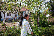 Girl from the local Roma community during walking in the Roma part in the city of Vinica in Macedonia.