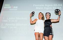 Anette Blicher and Ljuba Strukelj at Trophy ceremony during I feel Slovenia Ironman 70.3 Slovenian Istra 2018, on September 23, 2018 in Koper / Capodistria, Slovenia. Photo by Vid Ponikvar / Sportida