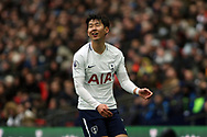 Son Heung-min of Tottenham Hotspur reacts.  Premier league match, Tottenham Hotspur v Arsenal at Wembley Stadium in London on Saturday 10th February 2018.<br /> pic by Steffan Bowen, Andrew Orchard sports photography.
