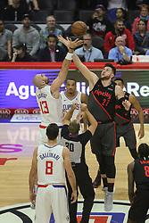 December 17, 2018 - Los Angeles, CA, U.S. - LOS ANGELES, CA - DECEMBER 17: Los Angeles Clippers Center Marcin Gortat (13) on jump ball with Portland Trail Blazers Center Jusuf Nurkic (27) during the Portland Trail Blazers at Los Angeles Clippers NBA game on December 17, 2018 at Staples Center in Los Angeles, CA.. (Photo by Jevone Moore/Icon Sportswire) (Credit Image: © Jevone Moore/Icon SMI via ZUMA Press)