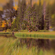 Weir Lake - Fly Fisherman - Fall Color - Lensbaby