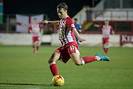 Sean McConville (Accrington Stanley) takes another shot during the Sky Bet League 2 match between Accrington Stanley and Hartlepool United at the Fraser Eagle Stadium, Accrington, England on 19 January 2016. Photo by Mark P Doherty.