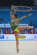 Russo Alessia during qualifying at hoop in the Pesaro World Cup April 11, 2015. Alessia is an Italian individual rhythmic gymnast, she was born on September 24,1996 in Figline Valdarno, Italy.