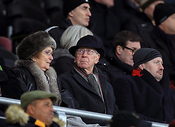 Former Manchester United player Sir Bobby Charlton in the stands
