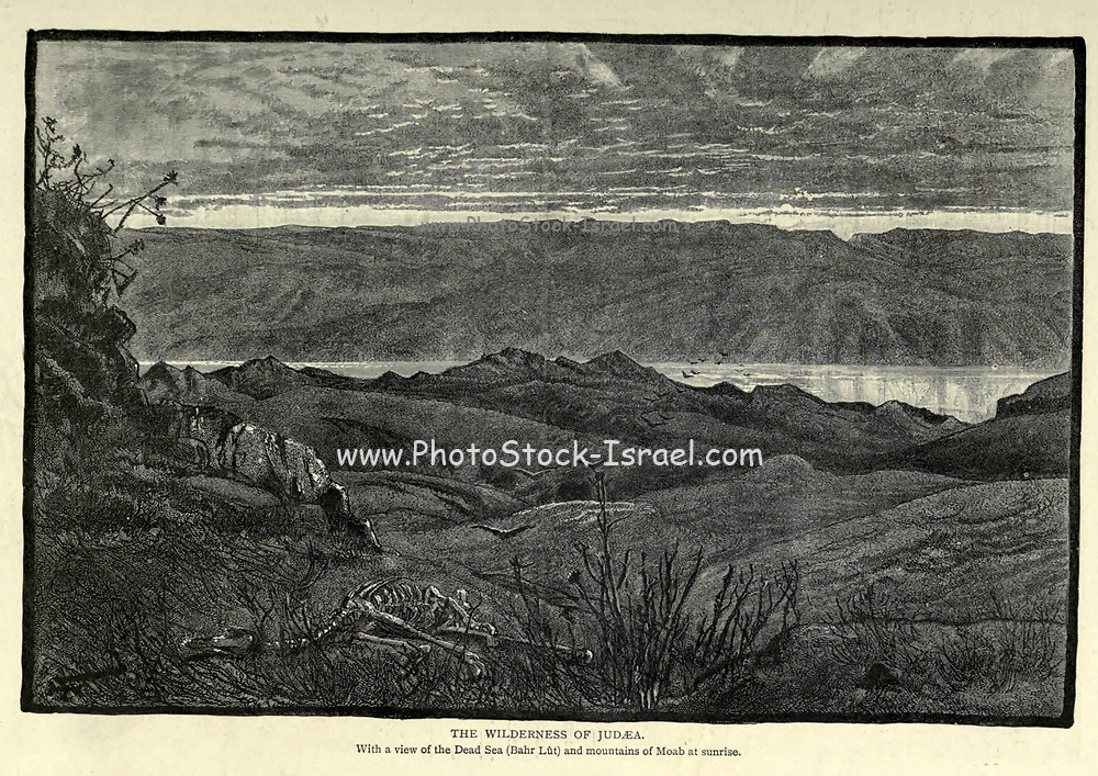 The Wilderness of Judaea With a view of the Dead Sea (Bahr Lut) and mountains of Moab at sunrise Wood engraving of from 'Picturesque Palestine, Sinai and Egypt' by Wilson, Charles William, Sir, 1836-1905; Lane-Poole, Stanley, 1854-1931 Volume 3. Published in by J. S. Virtue and Co 1883