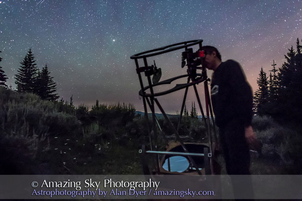 Observer and telescope maker Jack Dudych views through his 12-inch binocular telescope at the Mt. Kobau Star Party. A single exposure of 20 seconds at f/2.5 and ISO 6400 with the 24mm lens and Canon 6D.
