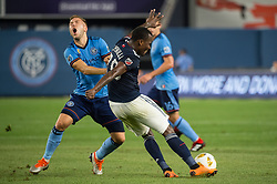 September 5, 2018 - Bronx, New York, United States - New England Revolution midfielder BRANDON BYE #15 clears the ball upfield while defended by New York City defender ANTON TINNERHOLM #3 during a regular season match at Yankee Stadium in Bronx, NY.  New England Revolution defeats New York City FC 1 to 0 (Credit Image: © Mark Smith/ZUMA Wire)