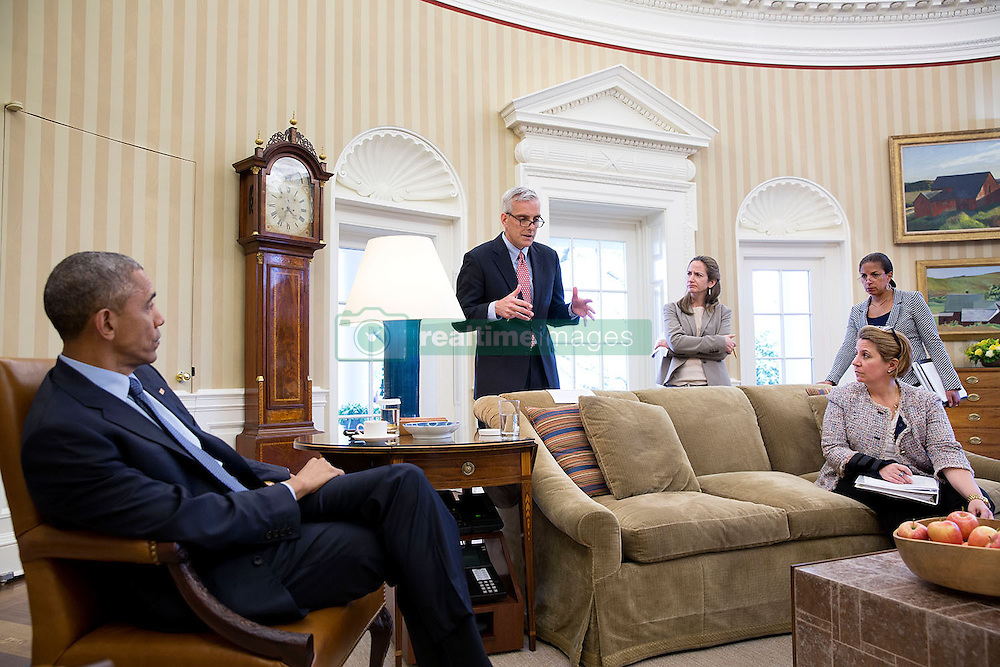 President Barack Obama meets with Chief of Staff Denis McDonough; Avril Haines, Deputy National Security Advisor; National Security Advisor Susan E. Rice and Lisa Monaco, Assistant to the President for Homeland Security and Counterterrorism, in the Oval Office, April 21, 2015. (Official White House Photo by Pete Souza)<br /> <br /> This official White House photograph is being made available only for publication by news organizations and/or for personal use printing by the subject(s) of the photograph. The photograph may not be manipulated in any way and may not be used in commercial or political materials, advertisements, emails, products, promotions that in any way suggests approval or endorsement of the President, the First Family, or the White House.