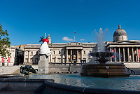 The Fourth Plinth  Trafalgar Square, London, UK 1st aug  2020<br /> The End, by Heather Phillipson, is <br />  the latest Fourth Plinth Commission, in Trafalgar Square1st aug 2020 photo by mark anton smith