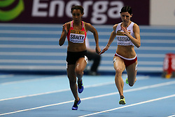 08.03.2014, Ergo Arena, Sopot, POL, IAAF, Leichtathletik Indoor WM, Sopot 2014, im Bild 60 m, Aziza Sbaity (LIB), Anna Kielbasinska (POL) // 60 m, Aziza Sbaity (LIB), Anna Kielbasinska (POL)  during day two of IAAF World Indoor Championships Sopot 2014 at the Ergo Arena in Sopot, Poland on 2014/03/08. EXPA Pictures © 2014, PhotoCredit: EXPA/ Newspix/ Tomasz Jastrzebowski<br /> <br /> *****ATTENTION - for AUT, SLO, CRO, SRB, BIH, MAZ, TUR, SUI, SWE only*****