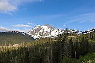 Mount Baker and the White Salmon Day Lodge at Mount Baker Ski area in Washington, USA.