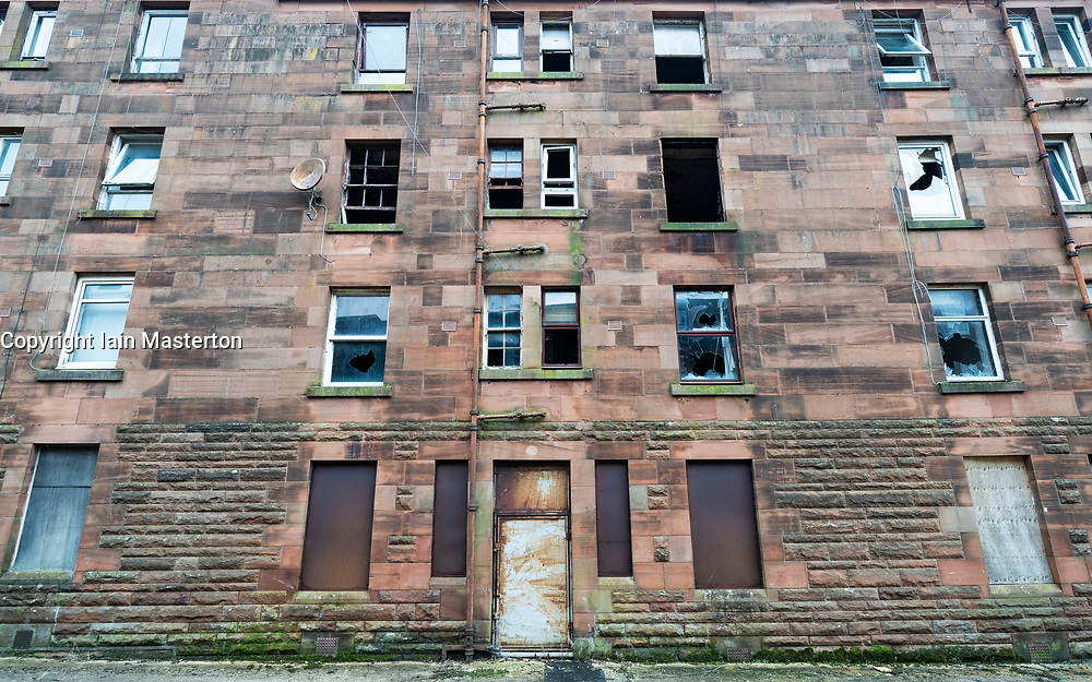 Views of derelict housing at Clune Park in Port Glasgow, Inverclyde. Tenement housing is due to be demolished and redeveloped. Scotland, UK