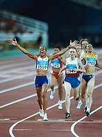 Kelly Holmes (GBR) celebrates winning the 1500m Fina to secure her 2nd Gold Medal of the Games. Athletics, Athens Olympics, 28/08/2004.