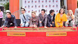 HOLLYWOOD, LOS ANGELES, CALIFORNIA, USA - MAY 01: The Cast Of 'The Big Bang Theory' Place Their Handprints In The Cement At The TCL Chinese Theatre IMAX Forecourt held at the TCL Chinese Theatre IMAX on May 1, 2019 in Hollywood, Los Angeles, California, United States. 01 May 2019 Pictured: Johnny Galecki, Jim Parsons, Kaley Cuoco, Simon Helberg, Kunal Nayyar, Mayim Bialik, Melissa Rauch. Photo credit: Image Press Agency / MEGA TheMegaAgency.com +1 888 505 6342