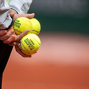 PARIS, FRANCE May 25. Yutaka Nakamura,trainer of Naomi Osaka of Japan holding official tournament tennis balls during practice on CourtSimonne Mathieu in preparation for the 2021 French Open Tennis Tournament at Roland Garros on May 25th 2021 in Paris, France. (Photo by Tim Clayton/Corbis via Getty Images)