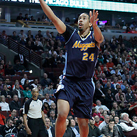26 March 2012: Denver Nuggets point guard forward Andre Miller (24) goes for the layup during the Denver Nuggets 108-91 victory over the Chicago Bulls at the United Center, Chicago, Illinois, USA. NOTE TO USER: User expressly acknowledges and agrees that, by downloading and or using this photograph, User is consenting to the terms and conditions of the Getty Images License Agreement. Mandatory Credit: 2012 NBAE (Photo by Chris Elise/NBAE via Getty Images)