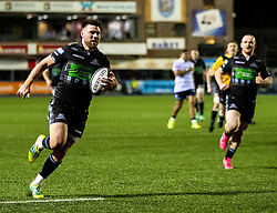 Ali Price of Glasgow Warriors scores his sides second try<br /> <br /> Photographer Simon King/Replay Images<br /> <br /> Guinness PRO14 Round 15 - Cardiff Blues v Glasgow Warriors - Saturday 16th February 2019 - Cardiff Arms Park - Cardiff<br /> <br /> World Copyright © Replay Images . All rights reserved. info@replayimages.co.uk - http://replayimages.co.uk