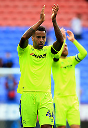 Derby County's Tom Huddlestone applauds the travelling support