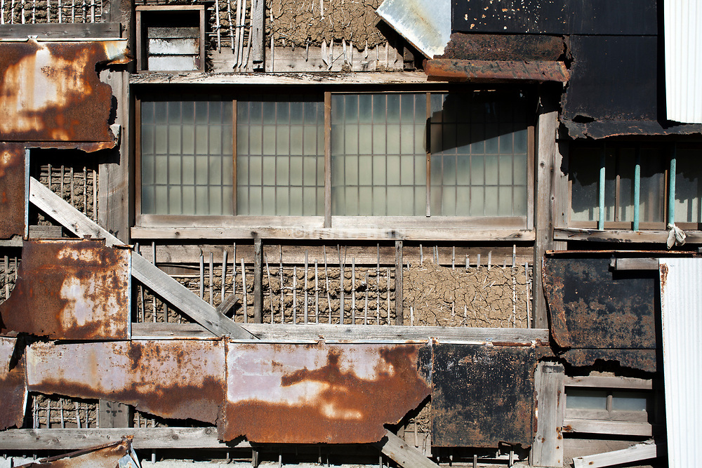 wall of an dilapidated residential home in Japan