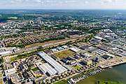 Nederland, Gelderland, Arnhem, 29-05-2019; Arnhem Oost, Industrieterrein Kleefsewaard met Nieuwe Haven en Nederrijn.<br /> East Arnhem with industrial estate.<br /> luchtfoto (toeslag op standard tarieven);<br /> aerial photo (additional fee required);<br /> copyright foto/photo Siebe Swart