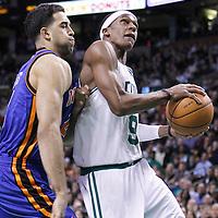04 March 2012: Boston Celtics point guard Rajon Rondo (9) drives past New York Knicks guard Landry Fields (2) during the Boston Celtics 115-111 (OT) victory over the New York Knicks at the TD Garden, Boston, Massachusetts, USA.