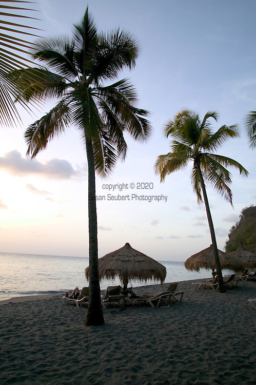 Anse Chastanet beach at sunset, St. Lucia