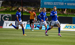31JUL21 Queen of the South's Willie Gibson celebrates after scoring their first half goal. half time : Partick Thistle 2 v 1 Queen of the South. First Scottish Championship game of the season.