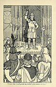 """I vow that I will grind my father's foes under my heel"""" From the book ' Viking tales ' by Jennie Hall, Punlished in Chicago by Rand, McNally & co in 1902"""