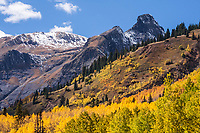Autumn scene along the Million Dollar Highway  on Red Mountain Pass in the San Juan Mountains. Colorado.