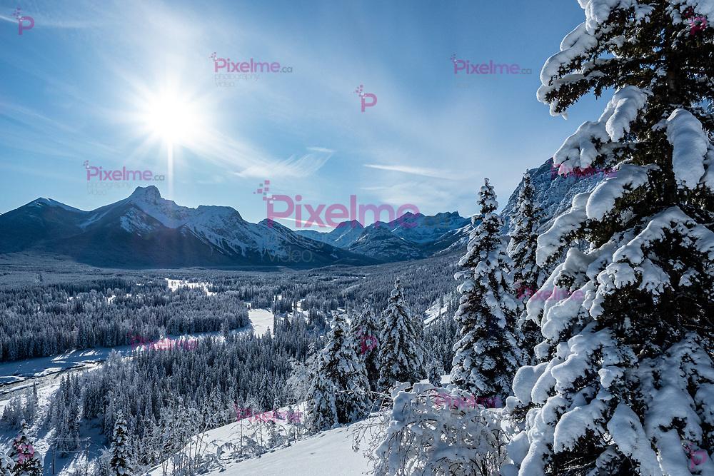 Snowy Valley Landscape in Kananaskis, Alberta, Canada during a sunny morning