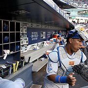 NEW YORK, NEW YORK - June 21: Catcher Salvador Perez #13 of the Kansas City Royals heading out of the dugout to catch during the Kansas City Royals Vs New York Mets regular season MLB game at Citi Field on June 21, 2016 in New York City. (Photo by Tim Clayton/Corbis via Getty Images)