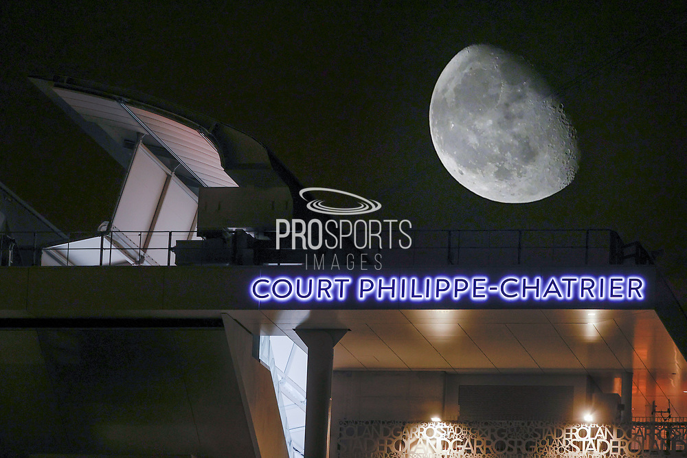 Wing of Roof top illustration with lighting letters of Philippe Chatrier stadium pictured in overprint camera mode with a moon during the Roland Garros 2020, Grand Slam tennis tournament, women single final, on October 9, 2020 at Roland Garros stadium in Paris, France - Photo Stephane Allaman / ProSportsImages / DPPI