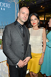 JUSTIN HORNE and YASMIN MILLS at the Belvedere Balance Bar Launch Party at The Hoxton Hotel, 81 Great Eastern Street, London on 10th May 2016.