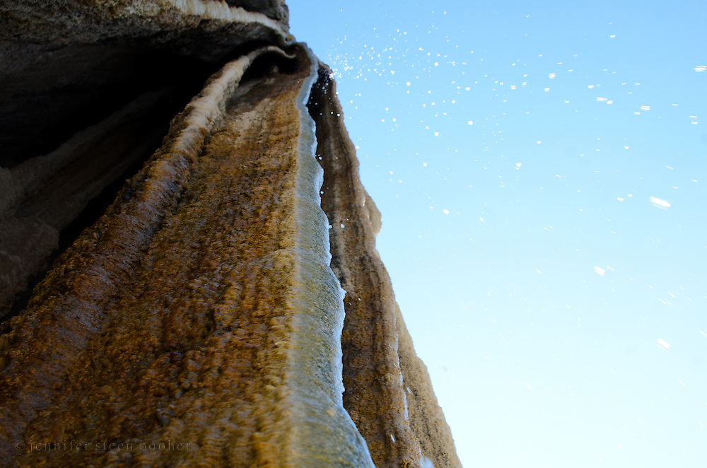 Looking up into water dripping down from the Cascada Grande, Hierve el Agua, Mexico.