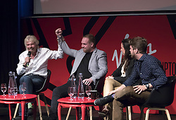 EDITORIAL USE ONLY<br /> (Left to right) Richard Branson, Solly Solomou, co-founder of The LAD Bible, Emma Sinclair founder of EnterpriseJungle and Peter Smith CEO at Blockchain speak at the Virgin Disruptors conference, which discusses innovation and change across the business world, at The Mermaid Theatre, in London.