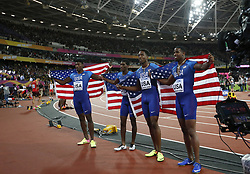 LONDON, Aug. 14, 2017  Team United States celebrate after Men's 4X400 Relay Final on Day 10 of the 2017 IAAF World Championships at London Stadium in London, Britain, on Aug. 13, 2017. Team United States took the silver with 2 minutes 58.61 seconds.  Xinhua/Wang Lili) (Credit Image: © Han Yan/Xinhua via ZUMA Wire)