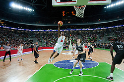 William Kendrick Gregory of Union Olimpija vs Jan Vesely Veseli of Partizan during final match of Basketball NLB League at Final Four tournament between KK Union Olimpija (SLO) and Partizan Belgrade (SRB), on April 21, 2011 at SRC Stozice, Ljubljana, Slovenia. (Photo By Matic Klansek Velej / Sportida.com)