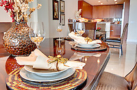 Viiew of dining room table with decoration