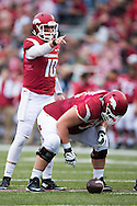 FAYETTEVILLE, AR - OCTOBER 31:  Brandon Allen #10 of the Arkansas Razorbacks points out who to block while over center during a game against the UT Martin Skyhawks at Razorback Stadium on October 31, 2015 in Fayetteville, Arkansas.  The Razorbacks defeated the Skyhawks 63-28.  (Photo by Wesley Hitt/Getty Images) *** Local Caption *** Brandon Allen