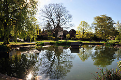 © Licensed to London News Pictures. 14/04/2017<br /> A bright start to the Easter weekend this Good Friday morning with sunshine and blue sky above the Kent village of Otford.<br /> Otford duck pond roundabout basking in the sunny weather.<br /> Photo credit :Grant Falvey/LNP