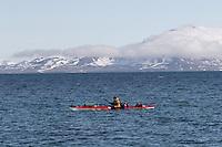 Man paddeling at Svalbard