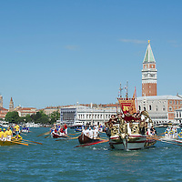 VENICE, ITALY - MAY 12:  The Serenissima  boat sails in front of the Doge Palace during the Sensa procession in Bacino Saint's Mark on May 12, 2013 in Venice, Italy. The festival of la Sensa is held in May on the Sunday after Ascension Day and follows a reenactment of the traditional ceremony where the Doge enacted the wedding of Venice to the sea.  (Photo by Marco Secchi/Getty Images)