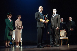 © Licensed to London News Pictures. 26/03/2012. London, UK. Playful Productions and Michael Alden present the stage production of The Kings Speech, by David Seidler, at Wyndhams Theatre, London.Picture shows: Charlotte Randle as Myrtle Logue, Emma Fielding as Queen Elizabeth, Charles Edwards as Bertie (King George VI) Jonathan Hyde as Lionel. Photo credit : Tony Nandi/LNP