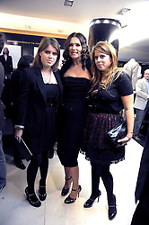 Left to right, PRINCESS EUGENIE OF YORK, SLAVICA ECCLESTONE and PRINCESS BEATRICE OF YORK at the Form Menswear launch at Harrod's, London on 2nd October 2008.